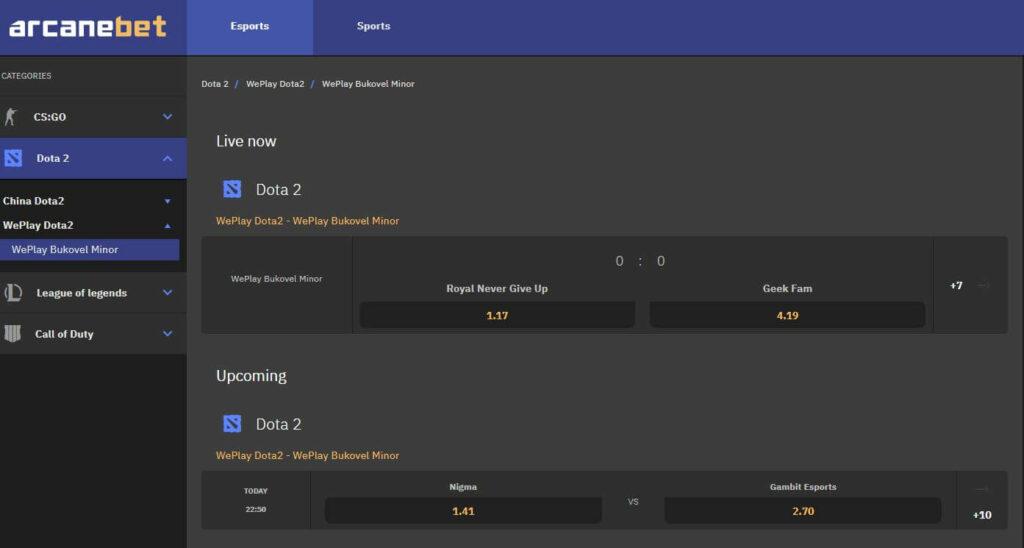 ArcaneBet - Top Dota 2 Betting site in 2020