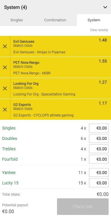 Esports Bet Slip - System Bets
